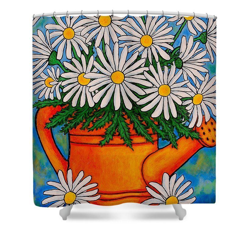 Daisies Shower Curtain featuring the painting Crazy For Daisies by Lisa Lorenz