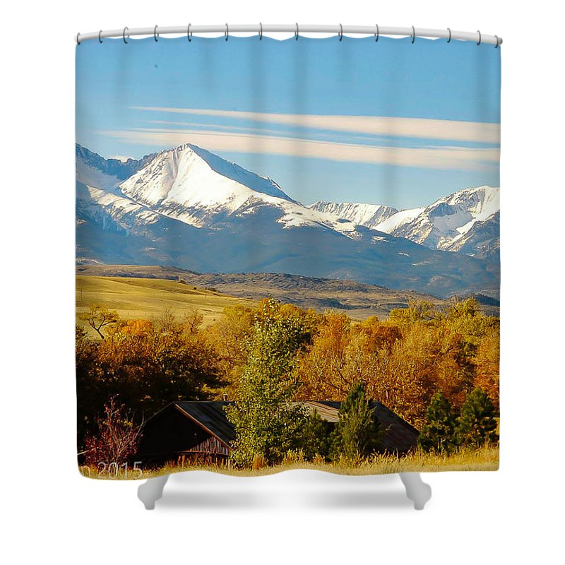 Crazy Mountains Shower Curtain featuring the photograph Crazy Mountain Homestead by Ann Dickinson