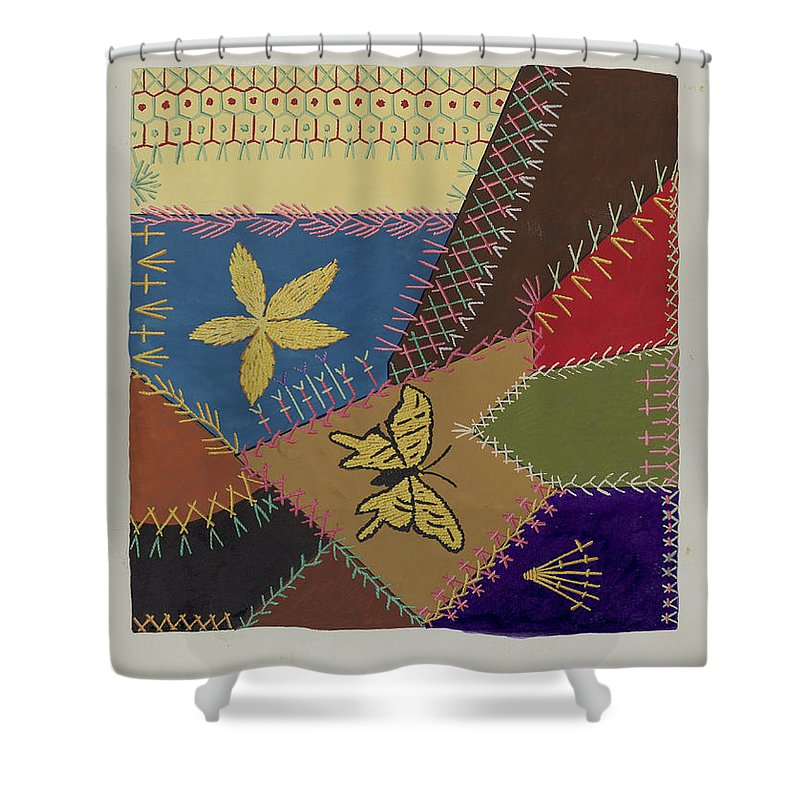 Shower Curtain featuring the drawing Crazy Quilt (section) by Ruth M. Barnes