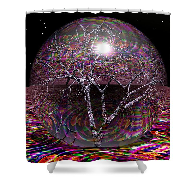 Sphere Shower Curtain featuring the digital art Crazy World- by Robert Orinski