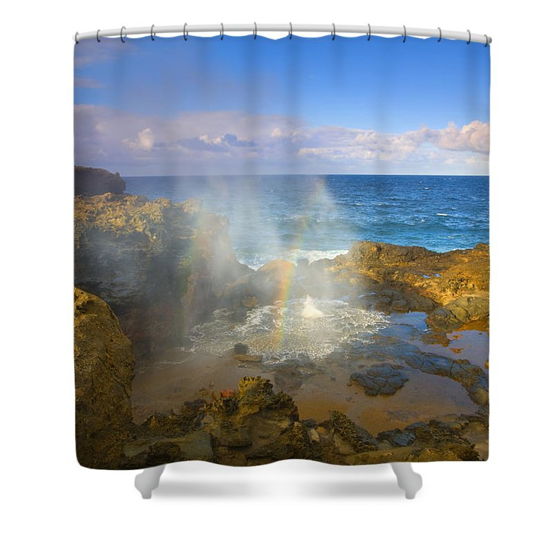 Blowhole Shower Curtain featuring the photograph Creating Miracles by Mike Dawson