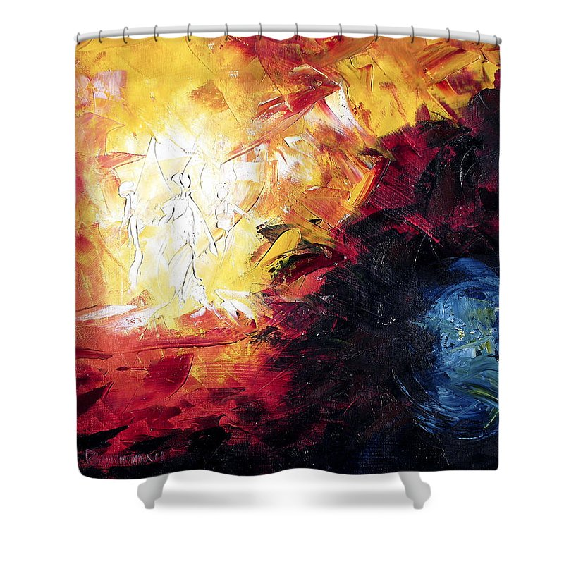 Abstract Shower Curtain featuring the painting Creation by Lewis Bowman