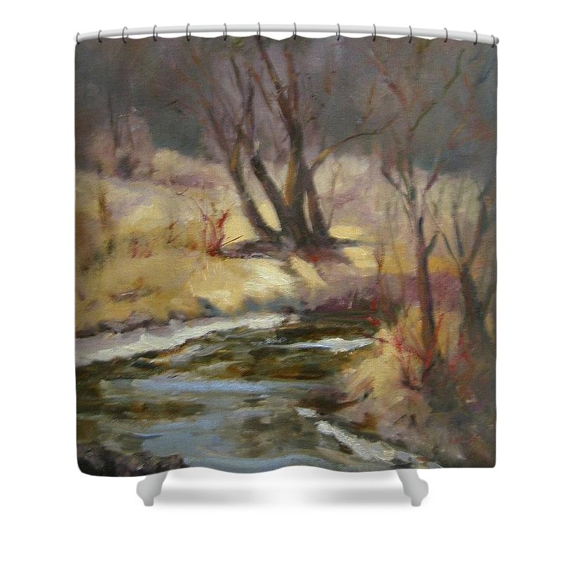 Plein Air Landscape Shower Curtain featuring the painting Credit River by Patricia Kness