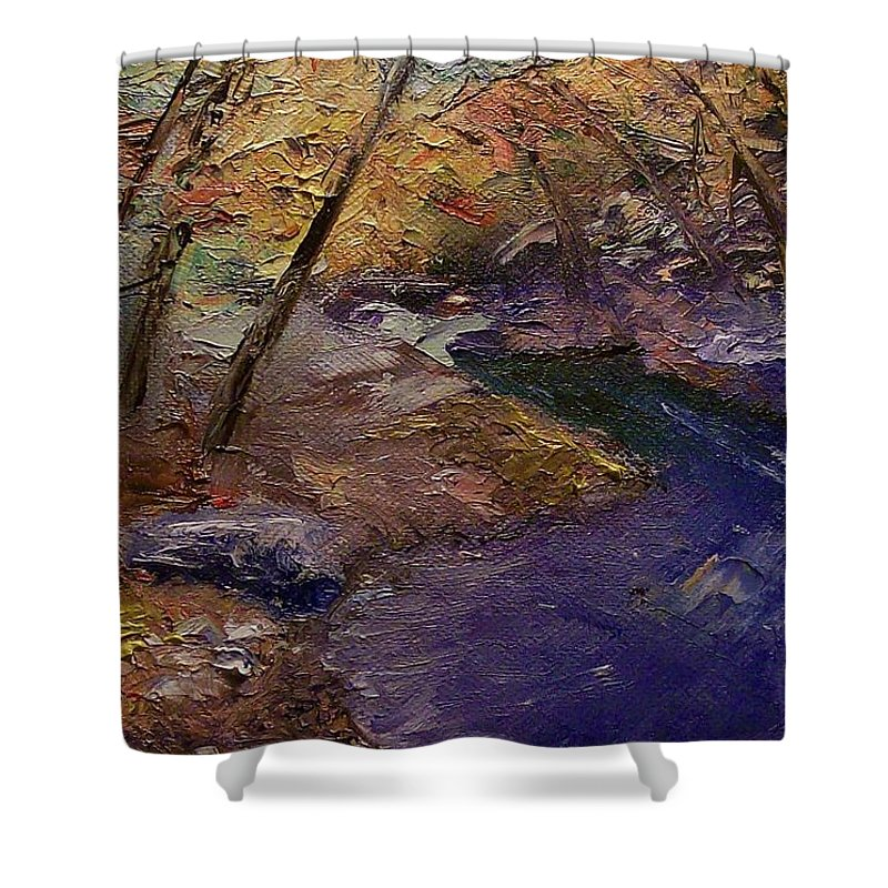 Landscape Shower Curtain featuring the painting Creek Bank by Stephen King