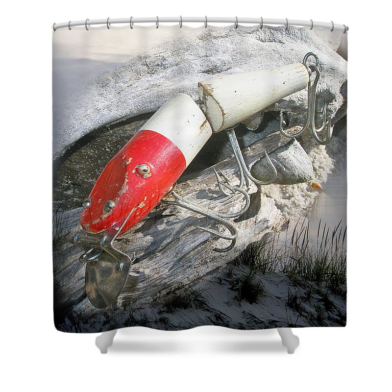 Creek Chub Shower Curtain Featuring The Photograph Pikie Redhead Jointed Vintage Wooden Fishing Lure