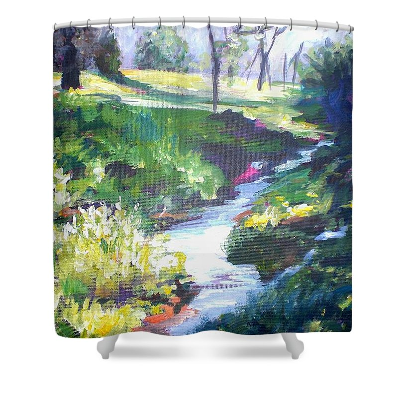 Landscape Shower Curtain featuring the painting Creek Flow by Sheila Holland