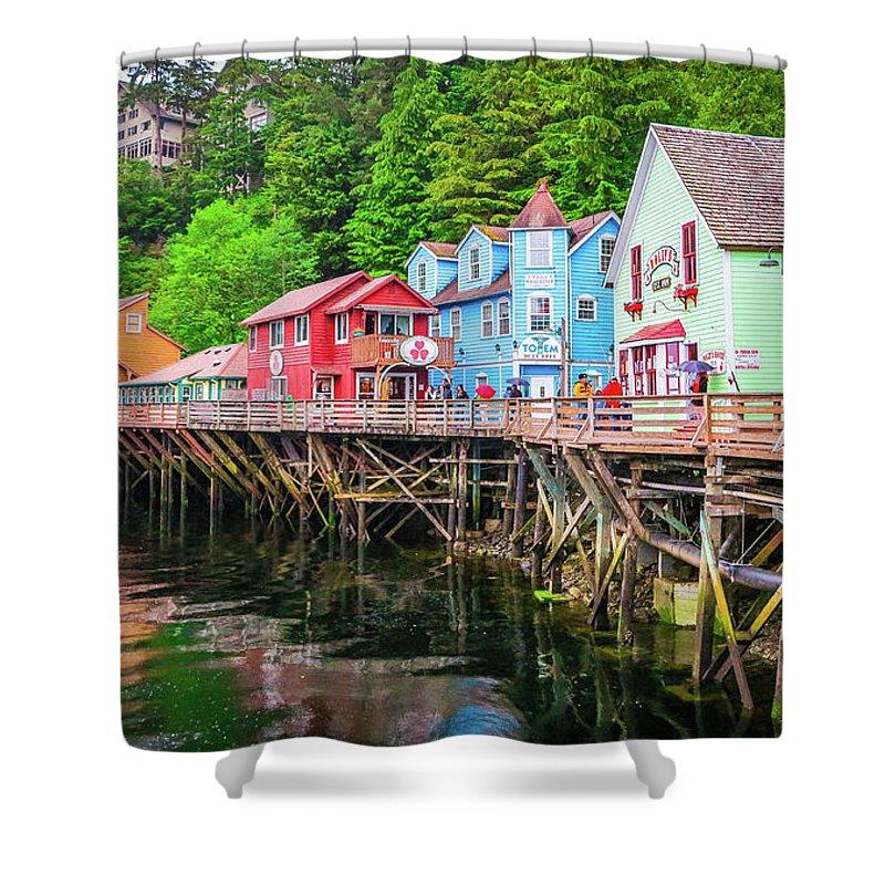 Seascape Shower Curtain featuring the photograph Creek Street Ketchikan Alaska by Jason Brooks