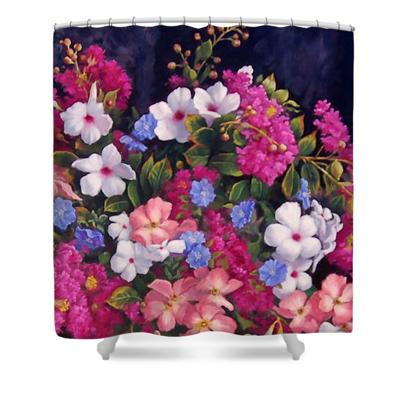 Roses Shower Curtain featuring the painting Crepe Myrtle And Roses by Johanna Girard