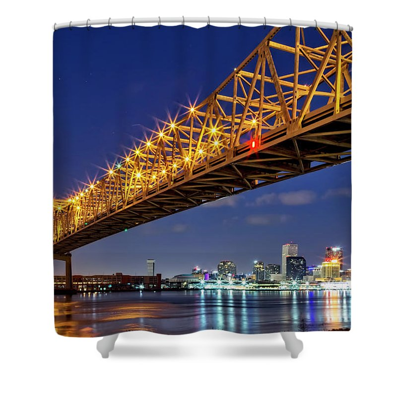 New Orleans Shower Curtain featuring the photograph Crescent City Bridge, New Orleans, Version 2 by Kay Brewer