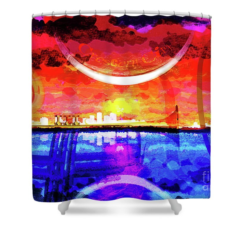 New Orleans Shower Curtain featuring the digital art Crescent City by Neil Finnemore