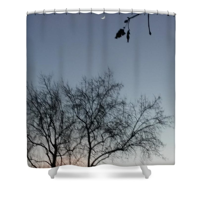 Sky Shower Curtain featuring the photograph Crescent Moon by Elizabeth Dunne