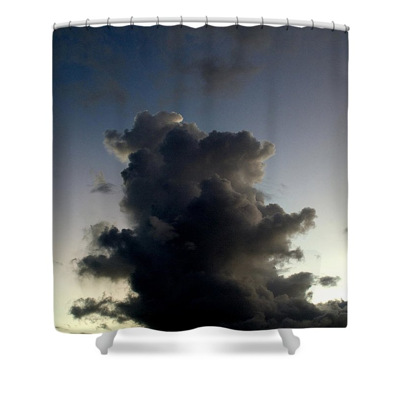 Caribbean Sea Shower Curtain featuring the photograph Crescent Moon Over A Storm Cloud by Todd Gipstein