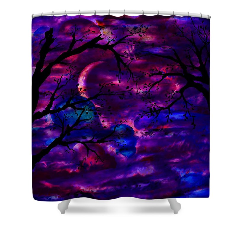 Abstract Shower Curtain featuring the digital art Crescent Moon by Rachel Christine Nowicki