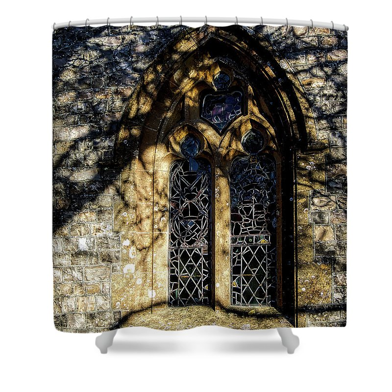 Cricket-st-thomas Shower Curtain featuring the photograph Cricket St Thomas Church Window by Susie Peek