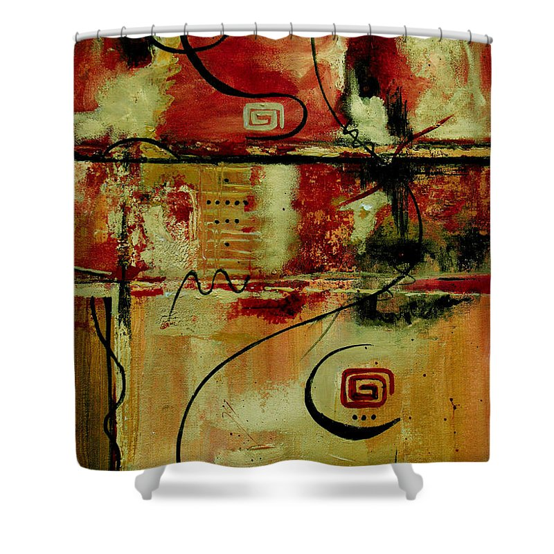 Abstract Shower Curtain featuring the painting Crimson And Copper by Ruth Palmer