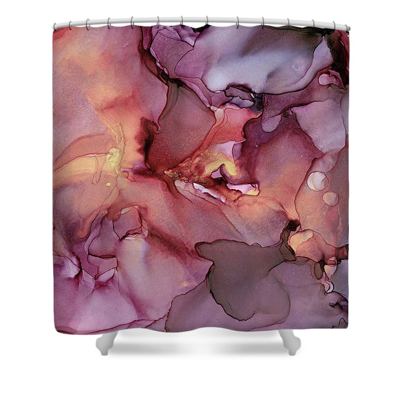 Ink Shower Curtain featuring the painting Crimson And Gold Abstract Ink Painting by Olga Shvartsur