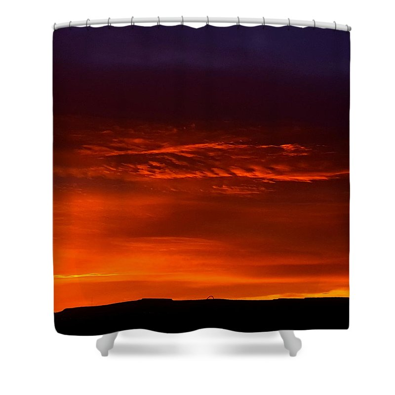 Landscape/ Sunrise Shower Curtain featuring the photograph Crimson Dawn by Rudy Gallegos