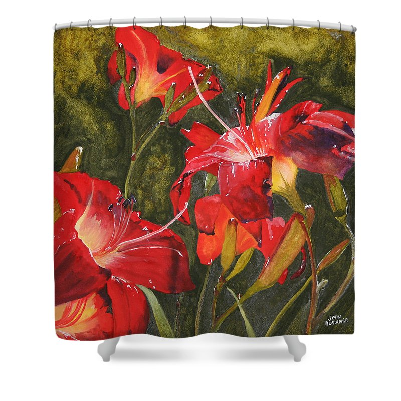 Red Shower Curtain featuring the painting Crimson Light by Jean Blackmer