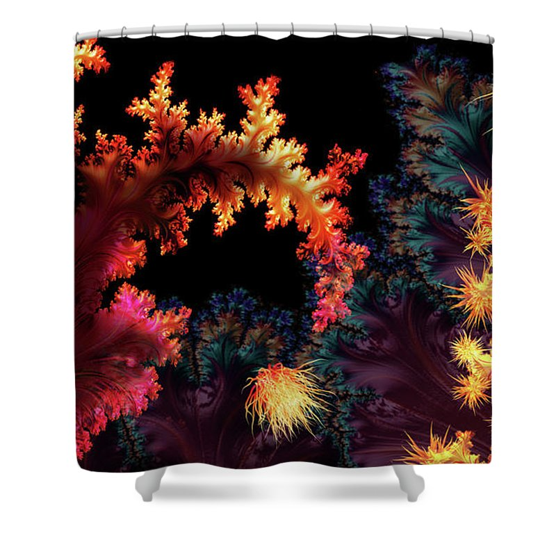 Shower Curtain featuring the mixed media Crimson Tide by Steven Marcus