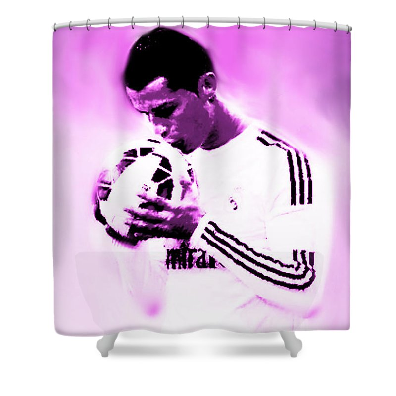 Cristiano Ronaldo Shower Curtain featuring the painting Cristiano ....para Siempre by Enki Art
