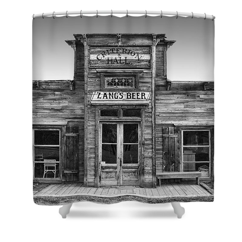 criterion Shower Curtain featuring the photograph Criterion Hall Saloon -- Montana Territories by Daniel Hagerman