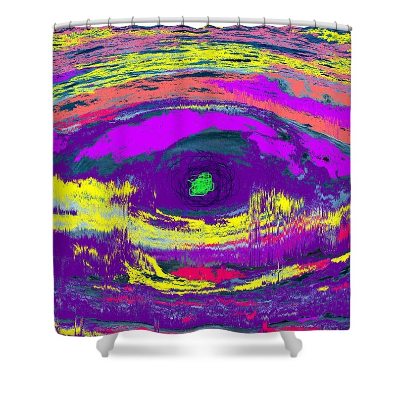 Abstract Shower Curtain featuring the digital art Crocodile Eye by Ian MacDonald