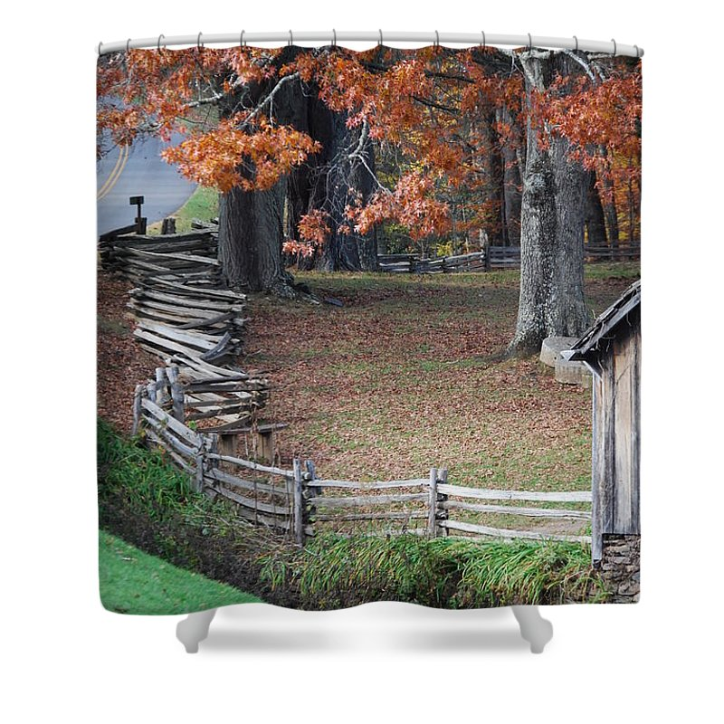 Archecture Shower Curtain featuring the photograph Crooked Fence by Eric Liller
