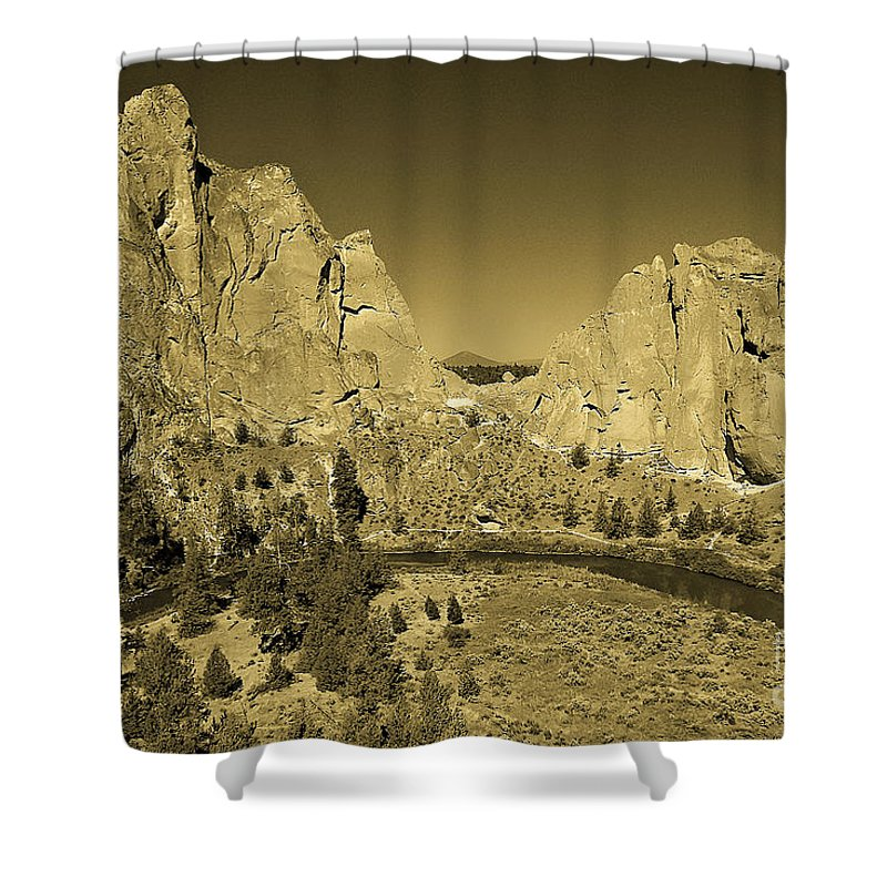 Oregon Shower Curtain featuring the photograph Crooked River At Smith Rock State Park Sepia by Rich Walter