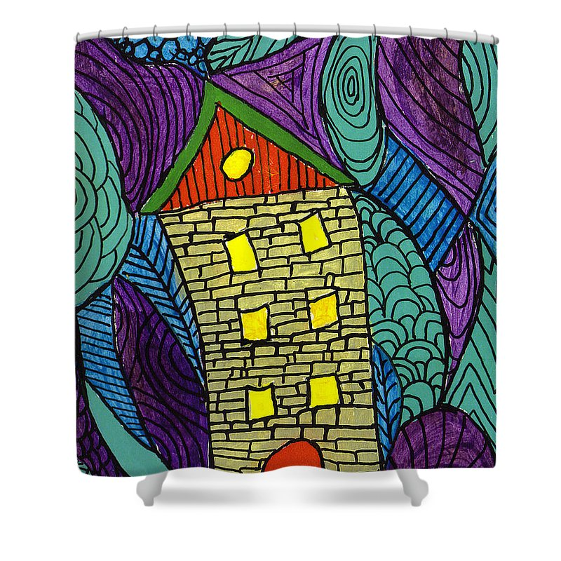 House Shower Curtain featuring the painting Crooked Yellow Brick House by Wayne Potrafka