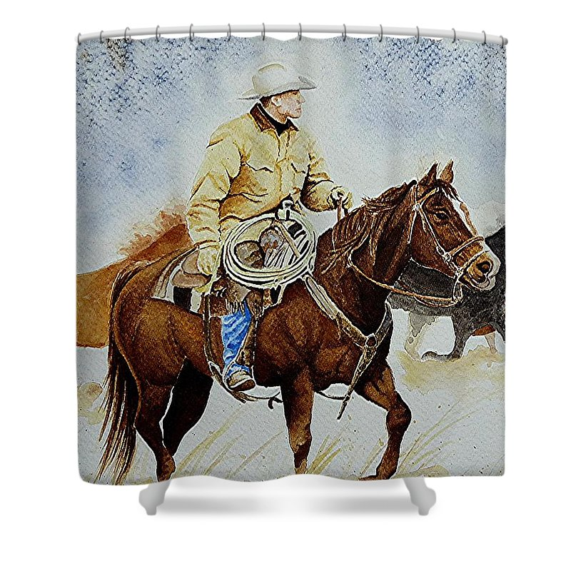 Art Shower Curtain featuring the painting Cropped Ranch Rider by Jimmy Smith