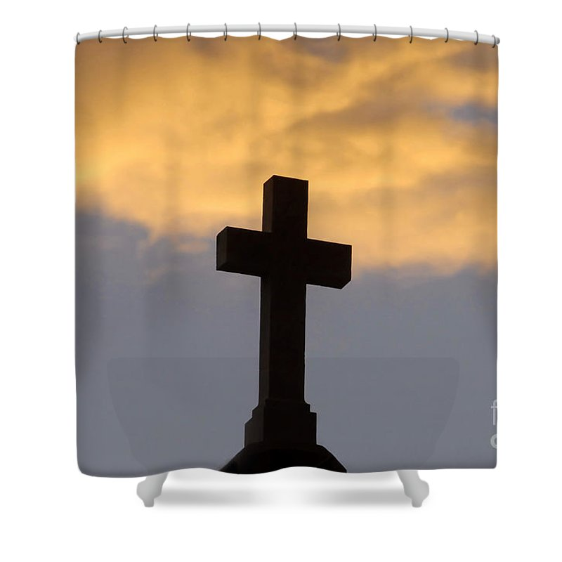 Cross Shower Curtain featuring the photograph Cross And Sky by David Lee Thompson