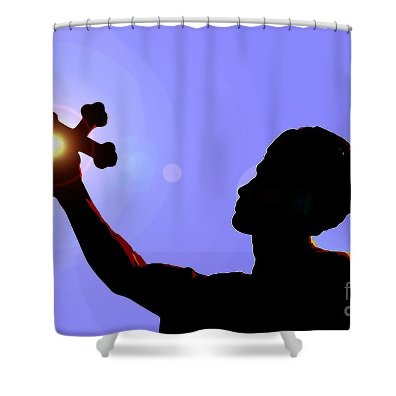 Cross Shower Curtain featuring the painting Cross And Sun by David Lee Thompson