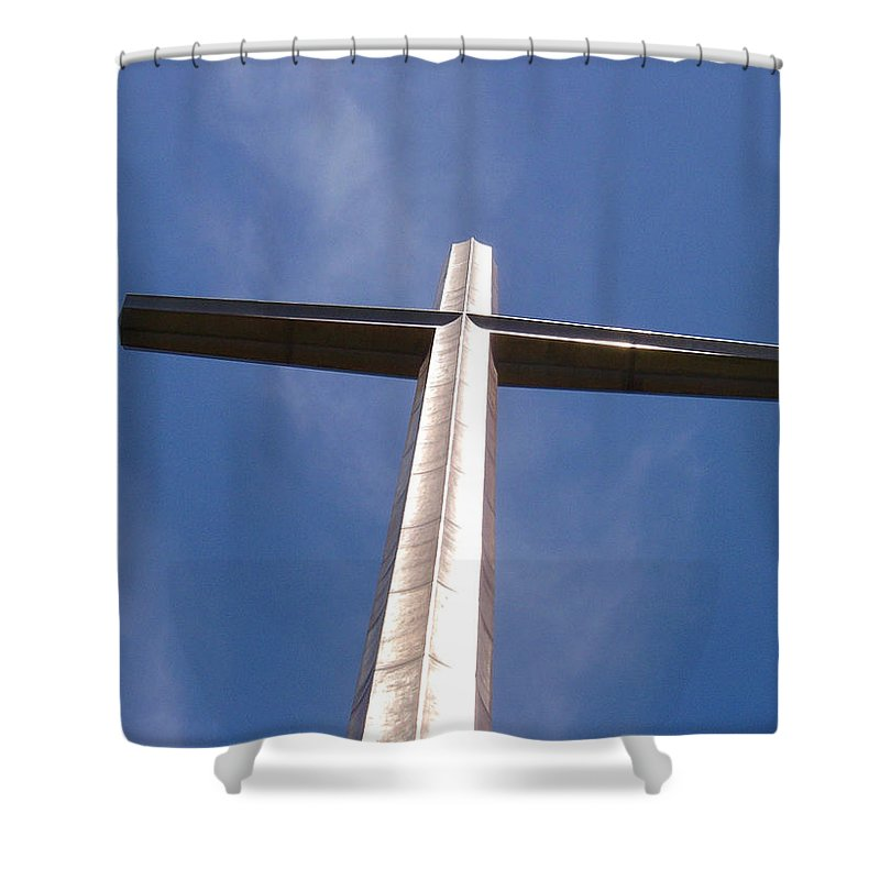 Cross Shower Curtain featuring the photograph Cross At St. Augustine by Kenneth Albin