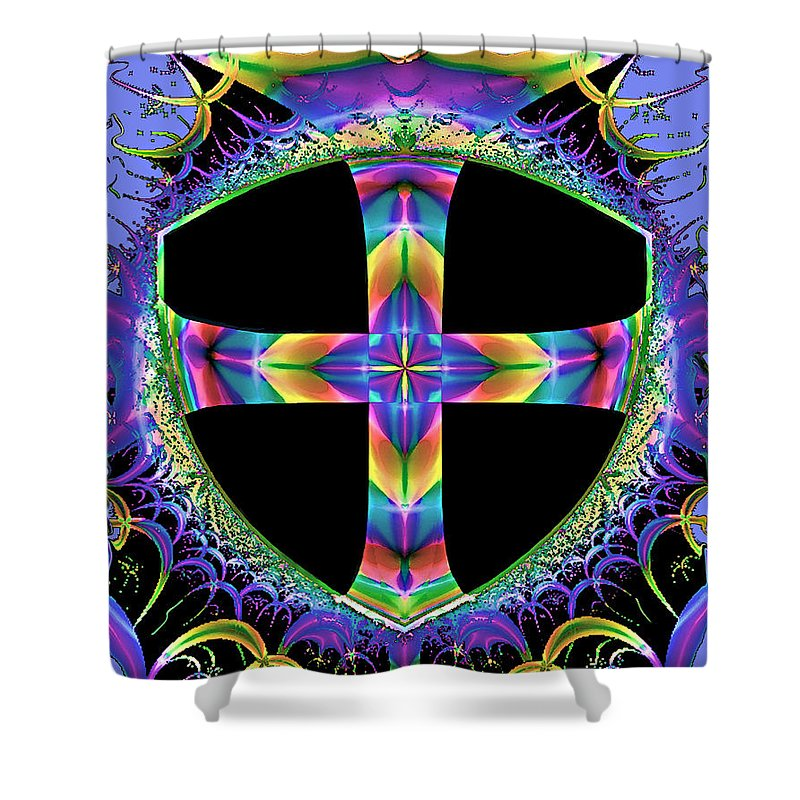 Cross Shower Curtain featuring the painting Cross Of One Way To God by Susanna Katherine