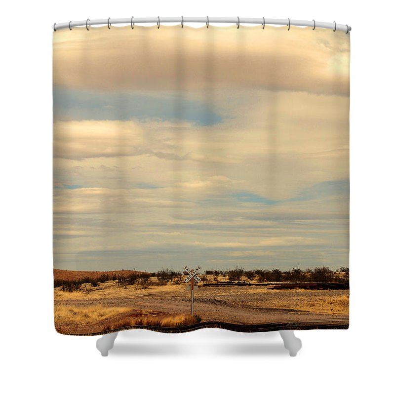 Cross Road Shower Curtain featuring the photograph Cross Road In New Mexico by Susanne Van Hulst