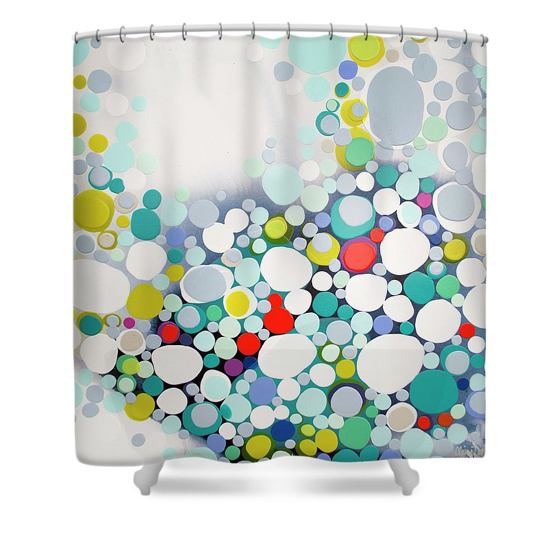 Abstract Shower Curtain featuring the painting Cross The Line by Claire Desjardins