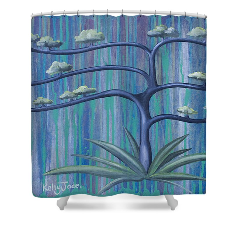 Tree Shower Curtain featuring the painting Cross Tree by Kelly Jade King