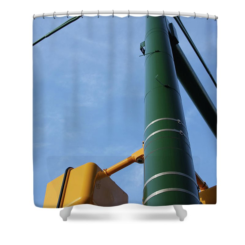 City Shower Curtain featuring the photograph Cross Walk Pole by Karol Livote