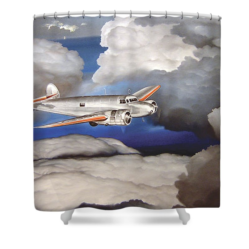 Aviation Shower Curtain featuring the painting Crossing Over Amelia Earharts Final Flight by Marc Stewart