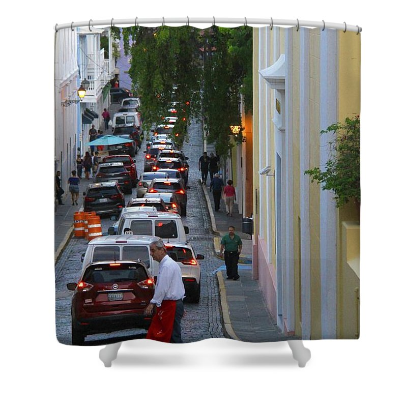Old San Juan Shower Curtain featuring the photograph Crossing San Juan by Suzanne Oesterling