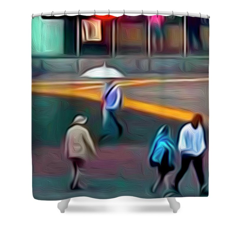 Photograph Shower Curtain featuring the photograph Crossing The Street by Edward Rigor