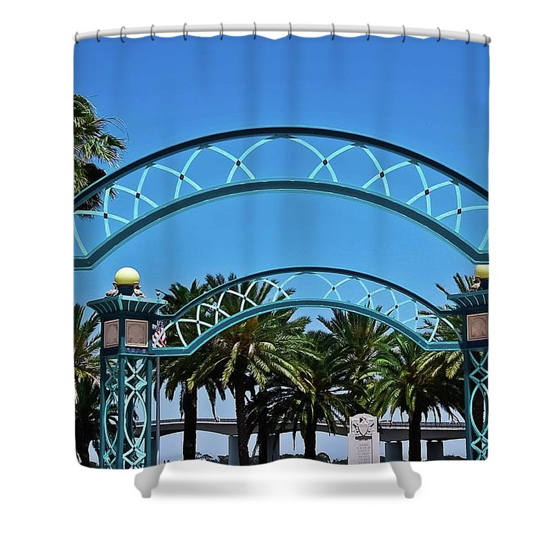 Arbors Shower Curtain featuring the photograph Crosswalk Of Valor by DigiArt Diaries by Vicky B Fuller