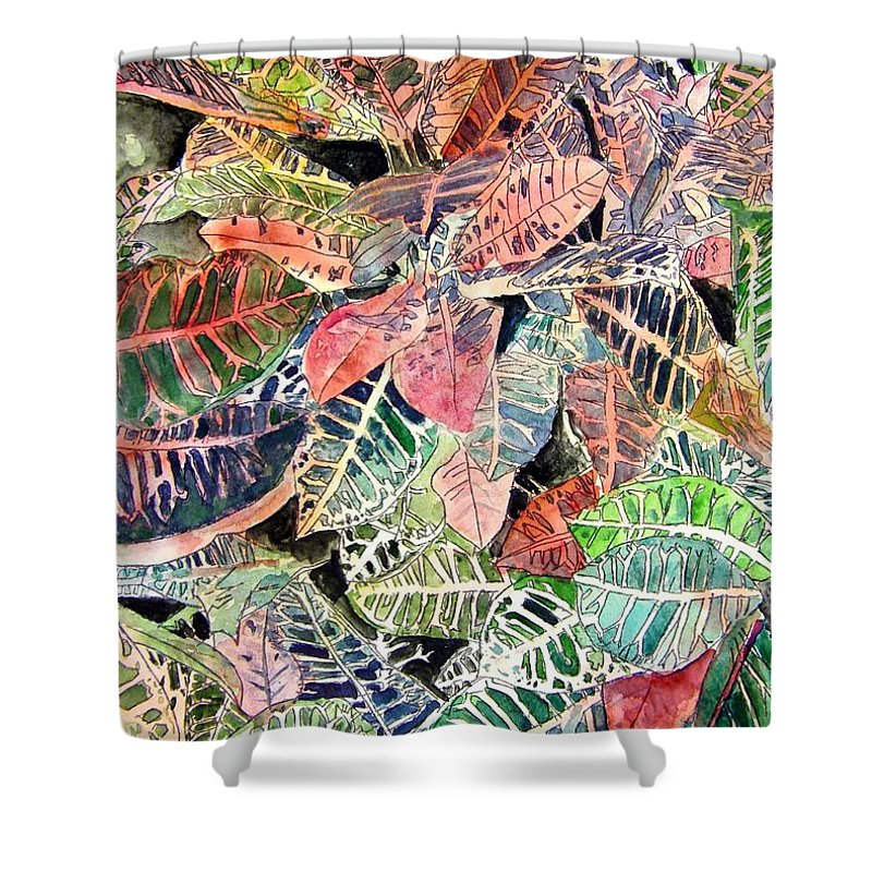 Croton Shower Curtain featuring the painting Croton Tropical Art Print by Derek Mccrea