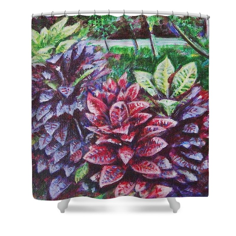 Landscape Shower Curtain featuring the painting Crotons 1 by Usha Shantharam