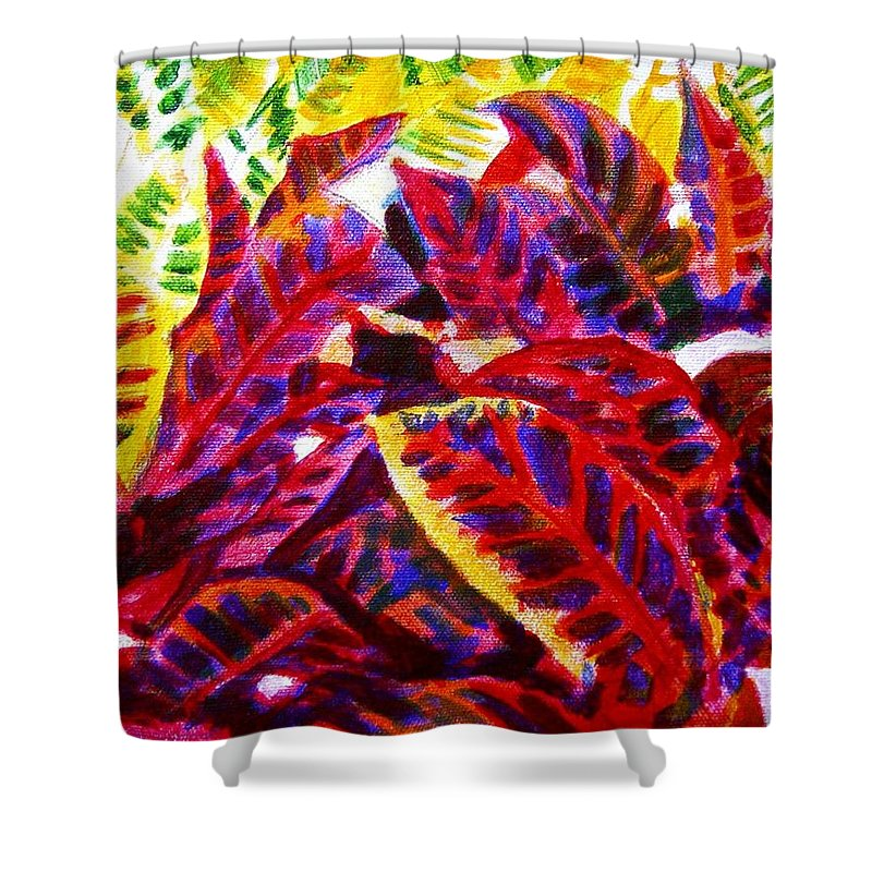 Nature Shower Curtain featuring the painting Crotons Sunlit 1 by Usha Shantharam