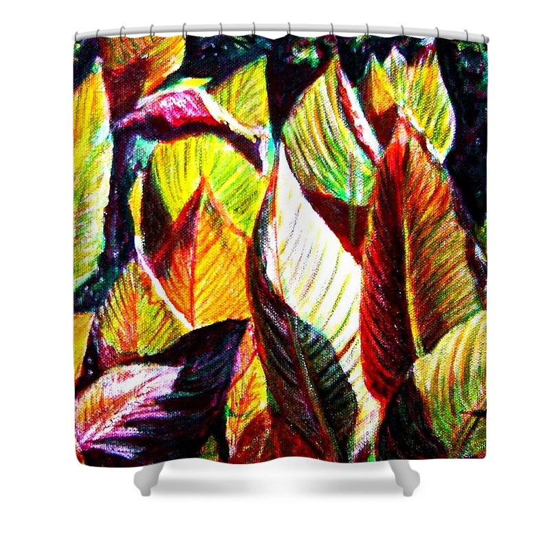 Plants Shower Curtain featuring the painting Crotons Sunlit 2 by Usha Shantharam