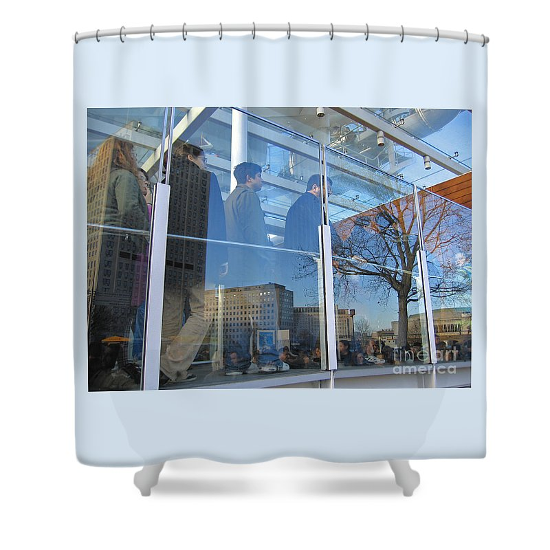 London Shower Curtain featuring the photograph Crowd Queuing Up by Ann Horn