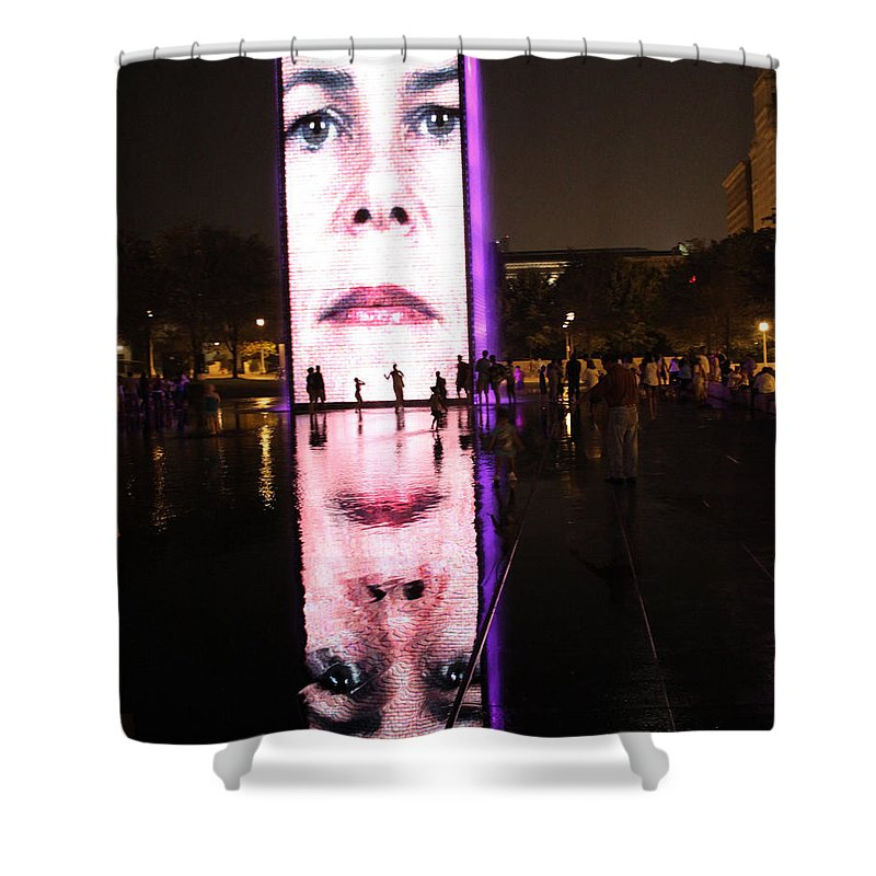 Crown Fountain Shower Curtain featuring the photograph Crown Fountain Reflections by Lauri Novak