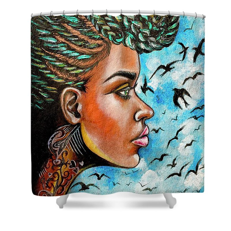Ria Shower Curtain featuring the painting Crowned Royal by Artist RiA