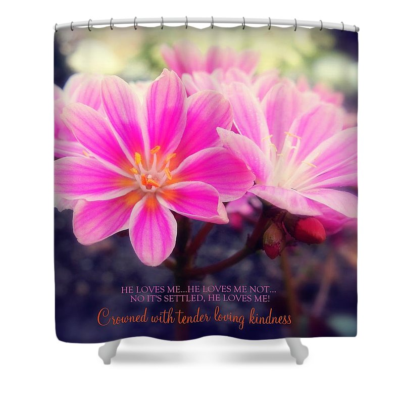 Pink Shower Curtain featuring the photograph Crowned With Kindness by Karen Jbon Lee